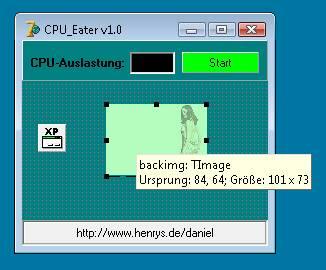 CPU-Eater - Hauptform von CPU-Eater ohne TCPUUsageP-Komponente