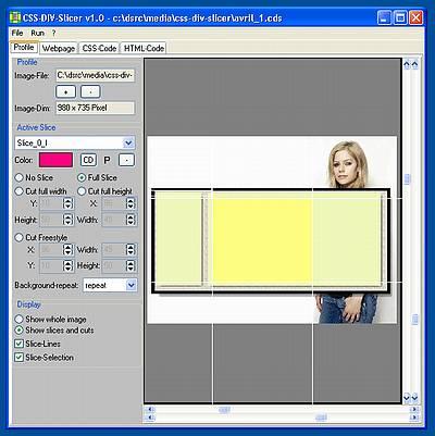 CSS-DIV-Slicer - Volle Breite ausgenutzt bei PaintBox