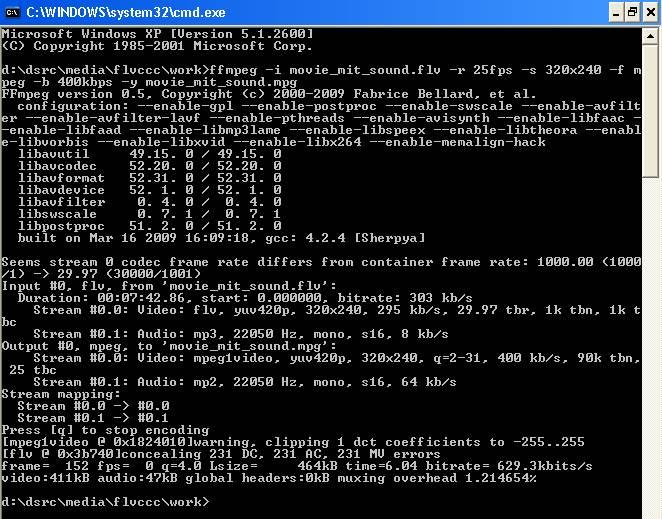 FLV-Cache-Catch-Converter - FFMPEG in der DOS-Konsole