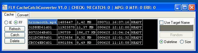 FLV-Cache-Catch-Converter - Alle Movies im Cache von Firefox in der StringGrid