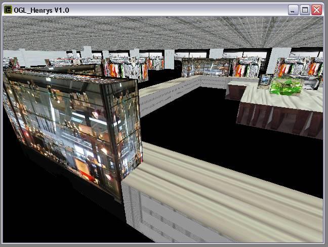 Delphi-Tutorials - OpenGL HENRY's - Ansicht des Raumes 'Mode', hier ohne Boden-Texturen