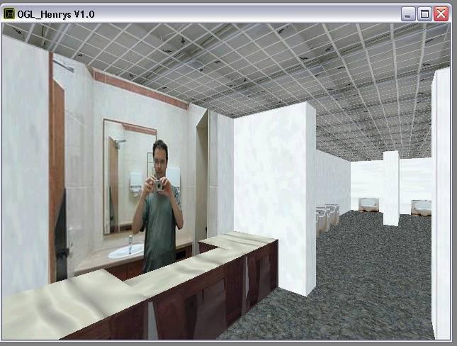 Delphi-Tutorials - OpenGL HENRY's - Selbstportrait in der Damentoilette im Raum 'Mode'
