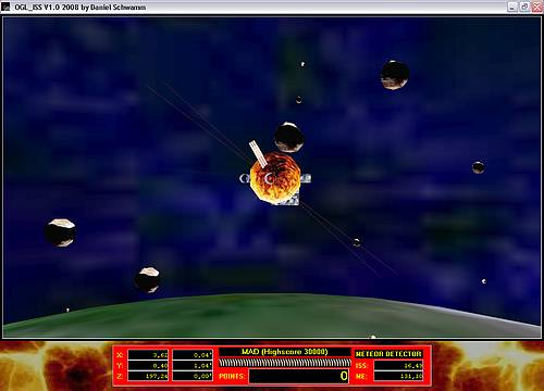 Delphi-Tutorials - OpenGL ISS - Drawing of some meteors on their collision curse to the ISS