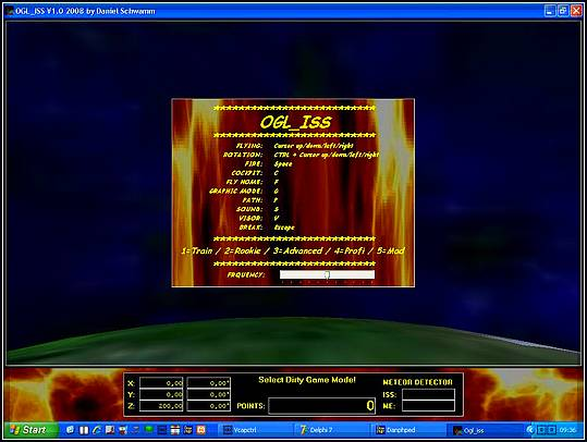 Delphi-Tutorials - OpenGL ISS - Game opening screen