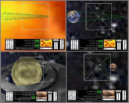 Delphi-Tutorials - OpenGL Planets - Visual guide beam across the solar system