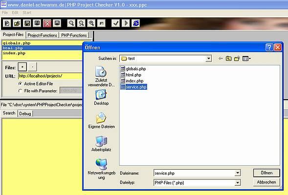 PHP-Project-Checker - Bestehende Dateien zum Projekt hinzufügen