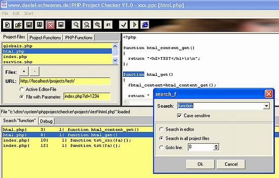 PHP-Project-Checker - Suche-Dialog