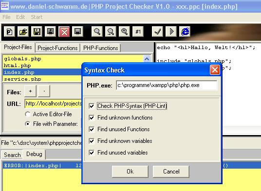 PHP-Project-Checker - Syntax-Check-Dialog