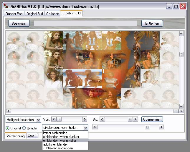Delphi-Tutorials - Pic-of-Pictures (Mosaik-Collage) - Ergebnis: Blend-Modus: einblenden, wenn heller