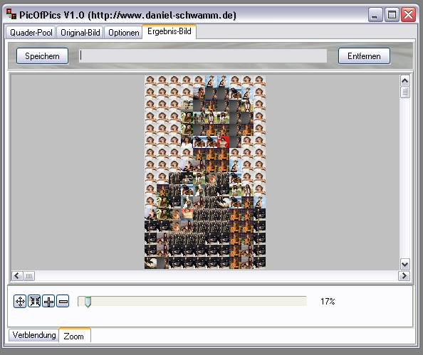 Delphi-Tutorials - Pic-of-Pictures (Mosaik-Collage) - Ergebnis: Zoom II