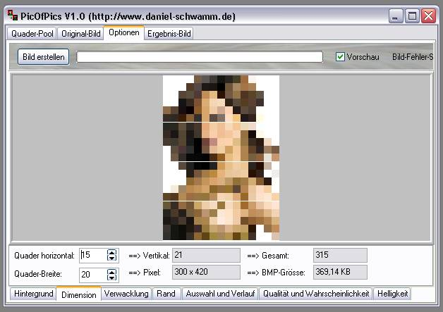 Delphi-Tutorials - Pic-of-Pictures (Mosaik-Collage) - Optionen: Dimension I