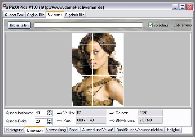 Delphi-Tutorials - Pic-of-Pictures (Mosaik-Collage) - Optionen: Dimension II