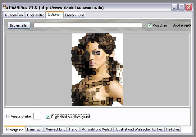 Delphi-Tutorials - Pic-of-Pictures (Mosaik-Collage) - Optionen: Hintergrund II