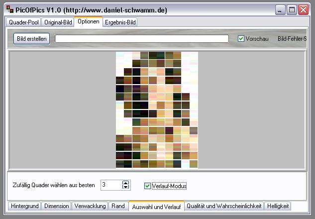 Delphi-Tutorials - Pic-of-Pictures (Mosaik-Collage) - Optionen: Verlauf-Modus aktiv