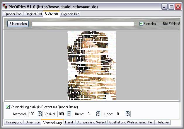 Delphi-Tutorials - Pic-of-Pictures (Mosaik-Collage) - Optionen: Verwacklung