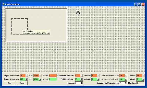 Pixel-Evolution - Das Haupt-Formular in Delphi
