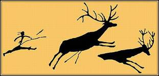 Pixel-Evolution - Prähistorischer Jäger und seine Beute