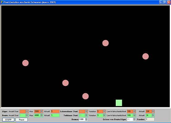 Pixel-Evolution - Jäger bewegen sich auf Beute zu