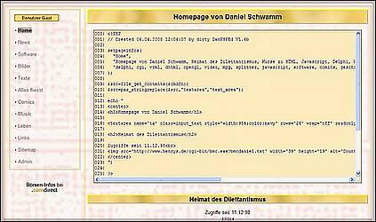 News - Src2Textarea: Die alte Homepage (Source-to-Textarea)